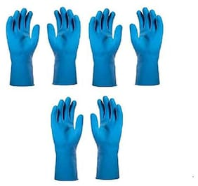 Tashkurst Premium Hand protection Rubber Dish Washing Magic Scrubber Gloves Reusable Household Cleaning Gloves Hand Care Free size Blue 3 pairs