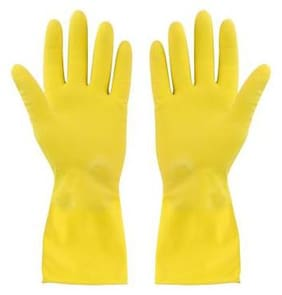 Tashkurst Premium Hand protection Rubber Dish Washing Magic Scrubber Gloves Reusable Household Cleaning Gloves Hand Care Free size Yellow 1pair