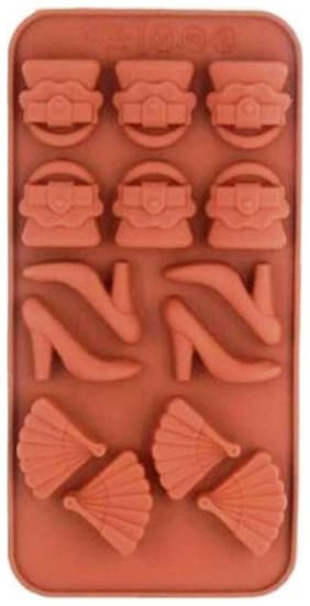 TASHKURST Silicon 14 Cavity Purse Sandal Fan Design Brown Chocolate Mould, Ice Mould, Chocolate Decorating Mould - Cup Mould (Pack of 1)
