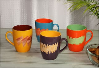 Tashveen Articles Ceramic Coffee Mugs Set of 4,Multi Colour Design Hand Painted Coffee Mug (250 ML) Tea Cups Large Milk Mugs
