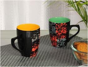 Tashveen Articles Ceramic Coffee Mugs Set of 2 Black with Multi Colour Dotted Design Hand Painted Coffee Mug (250 ml) Tea Cup Milk Mug
