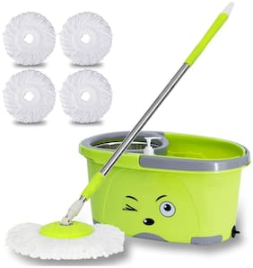 TAVISHMop Bucket Magic Spin Mop Bucket Double Drive Hand Pressure Stainless Steel Mop with 4 Microfiber Mop Head Household Floor Cleaning & 4 Color May Vary