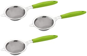 Palak Stainless Steel Tea Strainer Chalni (24 cm, Green) - Set of 3