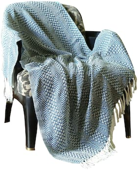 Teal Blue Diamond Cross Woven Knitted Single Cotton Sofa Throw AC Quilt Blanket By Rajrang