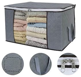 Techtest Non-Woven Quilt Storage Bag, Three-Layer Thickening Moisture-Proof Dust-Proof Toy Clothing Finishing Storage Bag Grey