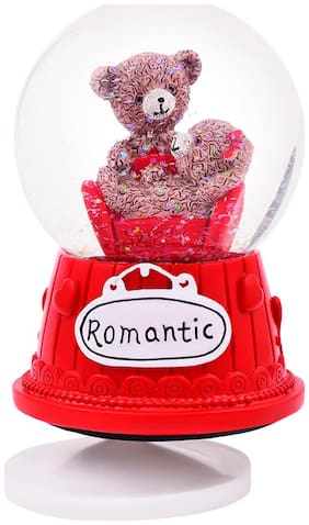 Teddy Bear Love Couple Showpiece with Crystal Glass Lobe;Red Color;Polyresin Material;SIZE;1 pc Set
