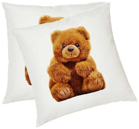 Teddy Bear Printed Shaped Cushions Cover with Cushions filler set of 2 (12x12) by Juvixbuy