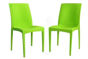 Tejkamal Galaxy Set of 2 Chairs/Light Green Doted