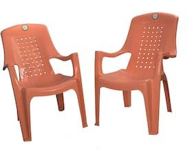 Tejkamal Relax Set of 2 Chairs/Yellow Biscuit colour