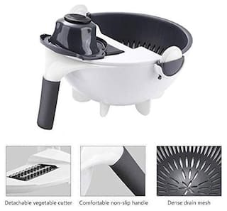 TELGO 7 in 1 Multifunction Magic Rotate Vegetable Cutter with Drain Basket Large Capacity Vegetables Chopper Veggie Shredder Grater Portable Slicer with 5 Dicing Blades