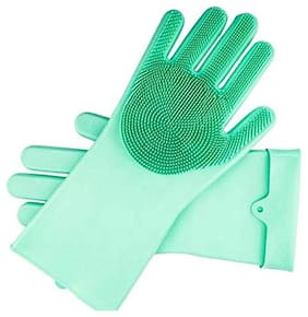Telgo Magic Silicone Dish Washing Gloves;Silicon Cleaning Gloves;Silicon Hand Gloves For Kitchen Dishwashing And Pet Grooming;Great For Washing Dish;Car;Bathroom (Assorted Color;1 Pair)