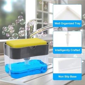 Teneza 2 in 1 Soap Pump Plastic Dispenser for washer Liquid, Holder (Random Colour, Standard, 385ml) Free Sponge