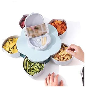 Teneza Five Compartments Flower Candy Box Serving Rotating Tray Dry Fruit, Candy, Chocolate, Snacks Storage Box with Mobile Phone Stand for Home Kitchen