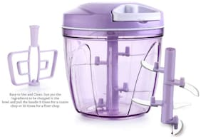 Teneza Jumbo Chopper 2 In 1 Jumbo Vegetable Chopper,Cutter,Whisking Set With Storage Lid For Kitchen,5 Ss Blades + Whisker Blade (900 ml) (Purple)