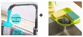 Teneza Multipurpose Kitchen Sink;Wash Basin Corner Rack and Plastic Water-Saving Adjustable Faucet Sprayer Free