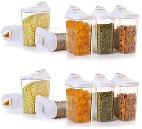 TENEZA 1100 ml Transparent Plastic Container Set - Set of 12