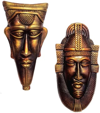 Terracotta Home Decorative Wall Haning Copper Egyptian Decorative Mask Pair- (Copper, 30.5 cms)