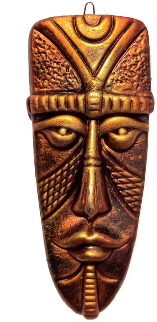 Terracotta Home Decorative Wall Hanging Egyptian Mask-(Copperr, 23 cms)