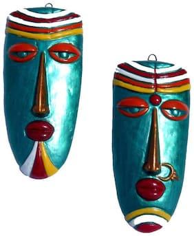 Terracotta Home Decorative Wall Hanging Multicolour Village Couple Mask-(Multicolour, 21 cms)