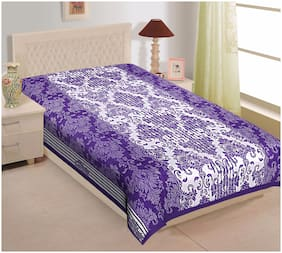 TEXSTYLERS Cotton Printed Single Size Bedsheet 144 TC ( 1 Bedsheet Without Pillow Covers , Purple )