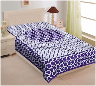 TEXSTYLERS Cotton Printed Single Size Bedsheet 104 TC ( 1 Bedsheet Without Pillow Covers , Purple )