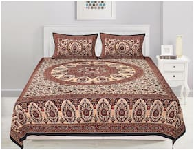 TEXSTYLERS Cotton Floral Double Size Bedsheet 180 TC ( 1 Bedsheet With 2 Pillow Covers , Multi )