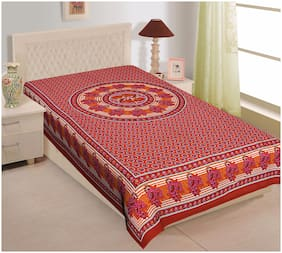 TEXSTYLERS Cotton Floral Single Size Bedsheet 144 TC ( 1 Bedsheet Without Pillow Covers , Multi )