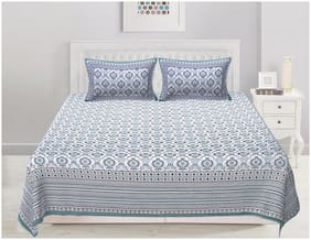 TEXSTYLERS Cotton Printed Double Size Bedsheet 200 TC ( 1 Bedsheet With 2 Pillow Covers , Blue & Black )