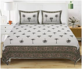 TEXSTYLERS Cotton Printed King Size Bedsheet 220 TC ( 1 Bedsheet With 2 Pillow Covers , Multi )