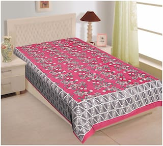 TEXSTYLERS Cotton Floral Single Size Bedsheet 144 TC ( 1 Bedsheet Without Pillow Covers , Pink )