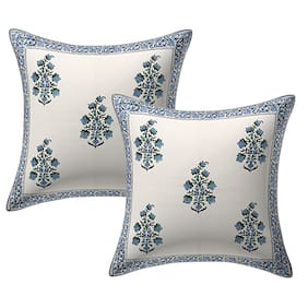 Texstylers 100% Cotton Jaipuri 24x24 Inch Hand Block Print Canvas Cushion Cover(Pack of 2)
