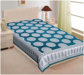 TEXSTYLERS Cotton Printed Single Size Bedsheet 144 TC ( 1 Bedsheet Without Pillow Covers , Blue )
