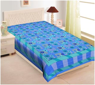 TEXSTYLERS Cotton Floral Single Size Bedsheet 104 TC ( 1 Bedsheet Without Pillow Covers , Blue )