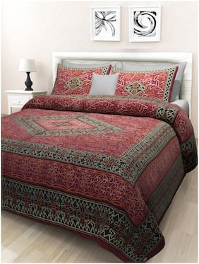 TEXSTYLERS Cotton Rajasthani Jaipuri Print Double Size Bedsheet 180 TC ( 1 Bedsheet With 2 Pillow Covers , Multi )