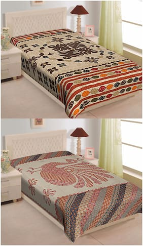 TEXSTYLERS Cotton Abstract Single Size Bedsheet Combo ( Set of 2 )