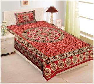 TEXSTYLERS Cotton Rajasthani Jaipuri Print Single Size Bedsheet 104 TC ( 1 Bedsheet With 1 Pillow Covers , Maroon )