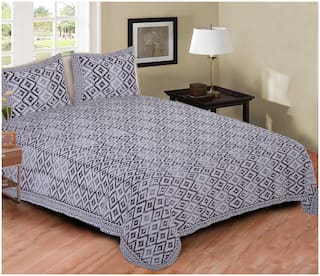 TEXSTYLERS Cotton Geometric Double Size Bedsheet 220 TC ( 1 Bedsheet With 2 Pillow Covers , Grey & White )