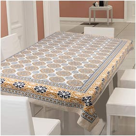 Texstylers 100% Cotton 250 TC Printed 6 Seater Table Cloth Cover