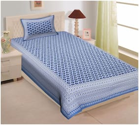 TEXSTYLERS Cotton Printed Single Size Bedsheet 144 TC ( 1 Bedsheet With 1 Pillow Covers , Blue )