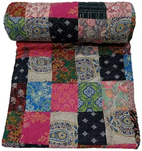 TEXSTYLERS 100% Cotton ASSORTED Quilted Reversible Double Bed Dohar(Pack of 1)