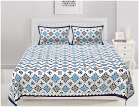 TEXSTYLERS Cotton Printed Double Size Bedsheet 200 TC ( 1 Bedsheet With 2 Pillow Covers , Blue )