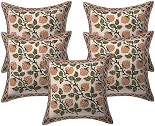 Texstylers 200 TC Block Printed 12x12 Inch Jaipuri Style Pure Cotton Canvas Cushion Cover(Pack Of 5)