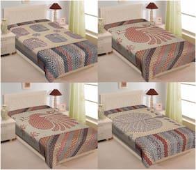 TEXSTYLERS 200 TC Sanganeri(Jaipuri) Print Cotton Single Bed Sheet Combo(Set of 4)
