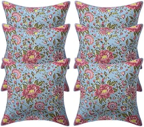 Texstylers 200 TC Block Printed 12x12 Inch Jaipuri Style Pure Cotton Canvas Cushion Cover(Pack Of 6)