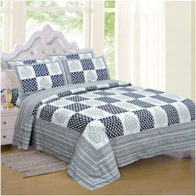 TEXSTYLERS Cotton Checkered King Size Bedsheet 240 TC ( 1 Bedsheet With 2 Pillow Covers , Multi )