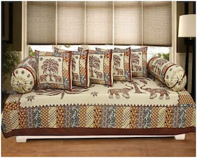 TEXSTYLERS Cotton Printed Single Size Diwan Sets - Pack of 8