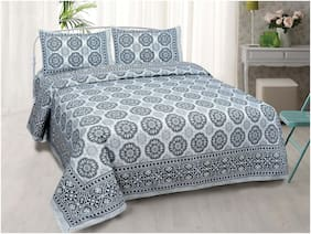 TEXSTYLERS Cotton Printed King Size Bedsheet 240 TC ( 1 Bedsheet With 2 Pillow Covers , Blue & Grey )