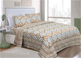 TEXSTYLERS Cotton Printed King Size Bedsheet 240 TC ( 1 Bedsheet With 2 Pillow Covers , Multi )