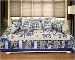 TEXSTYLERS Cotton Printed Single Size Diwan Sets - Pack of 6