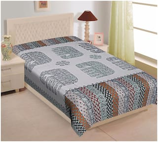 TEXSTYLERS Cotton Printed Single Size Bedsheet 104 TC ( 1 Bedsheet Without Pillow Covers , Multi )